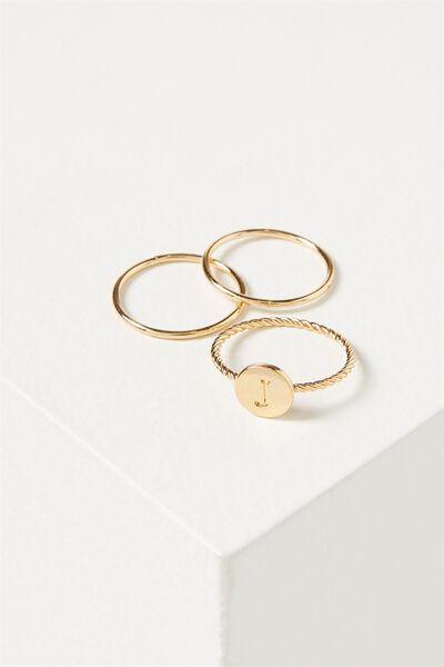 Letter Pendant Ring, GOLD - J