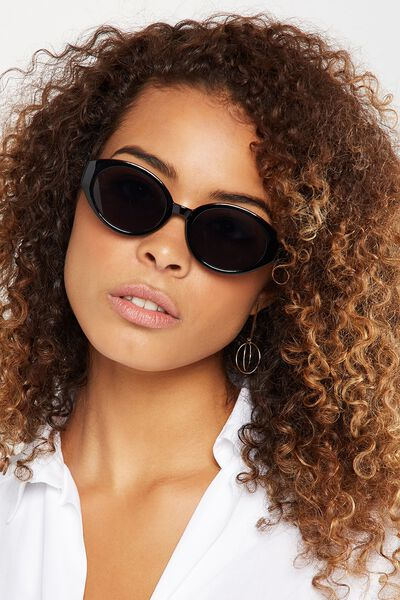 Charlotte Oval Sunglasses, BLACK