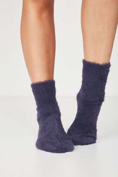 Fluffy Bed Sock, INFINITY BLUE