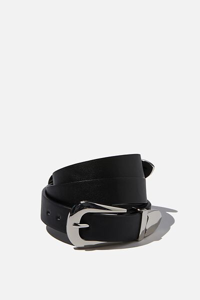 Double Western Buckle Belt, BLACK/ SILVER