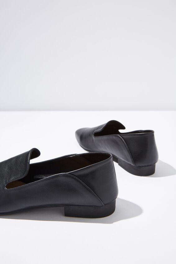 Malinda Square Toe Loafer, BLACK SMOOTH PU