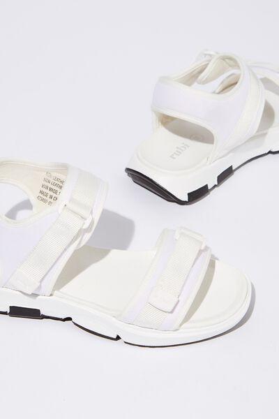 Amy Sporty Sandal, WHITE