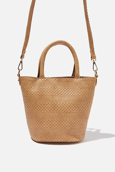 Woven Texture Bucket Bag, TAN