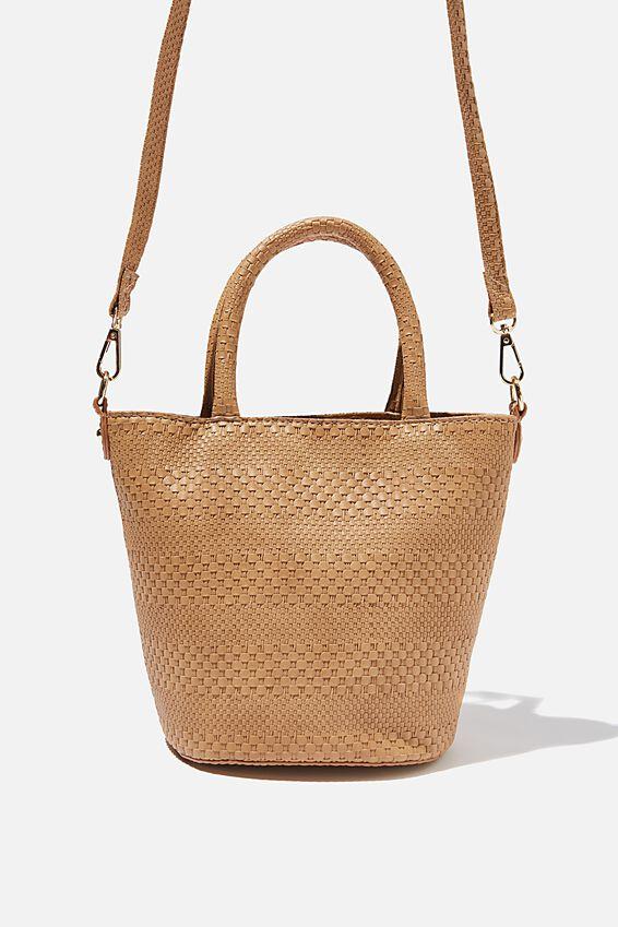 Woven Texture Bucket Bag, TAN