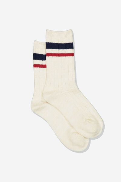 Hiking Sock, CREAM RED/NAVY STRIPE