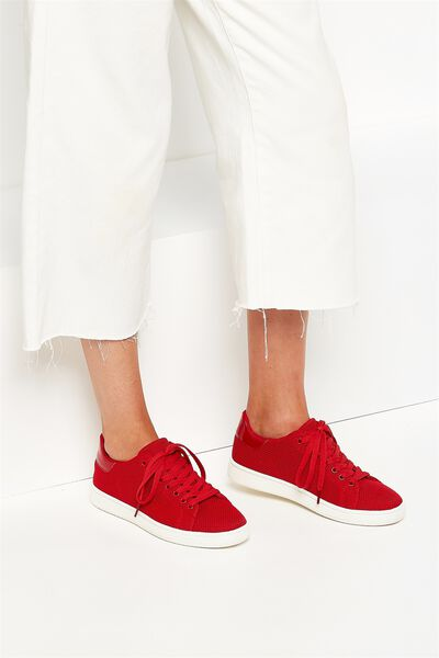 Cathryn Knit Sneaker, RED MESH