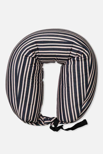 Traveler Pillow, NAVY/PINK STRIPE