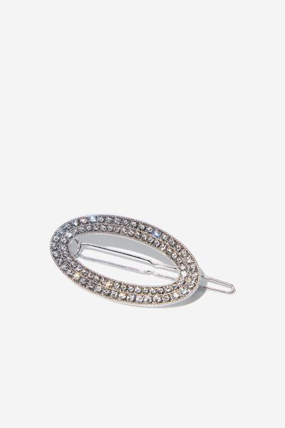 Wheres The Party Bling Hair Barrette, SILVER