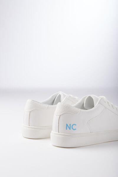 Personalised Eloise Sneaker, WHITE PU/WHITE