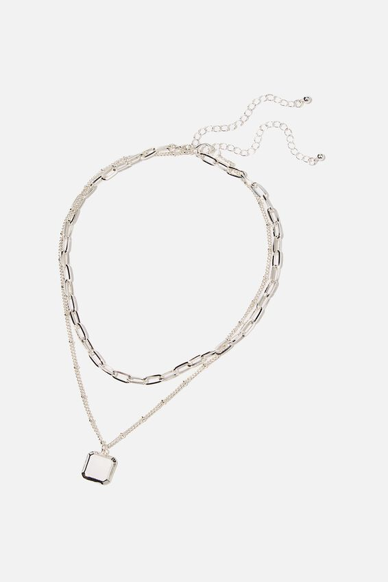 Luxe Layers Lauren Necklace, SQUARE TAB SILVER