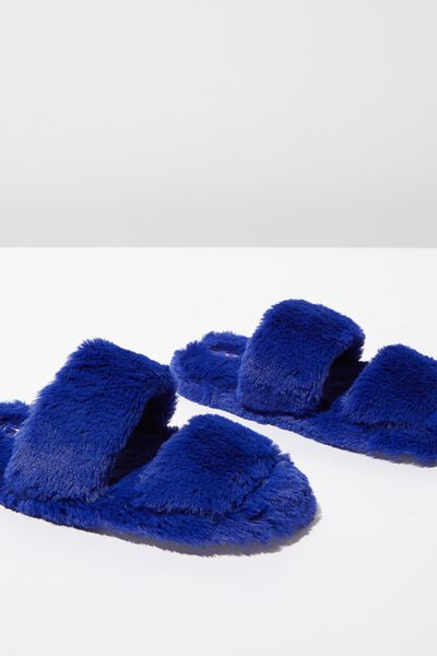 Double Strap Fluff Slipper, MARINE BLUE