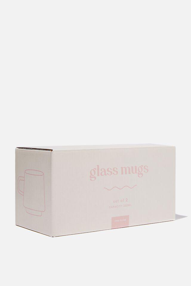 Glass Mug 2Pk, PINK