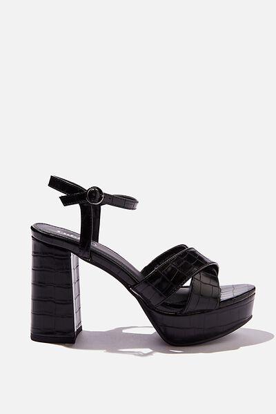 Esther Platform Heel, BLACK CROC