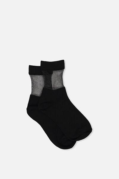Peek-A-Boo Crew Sock, BLACK/BLACK SHEER