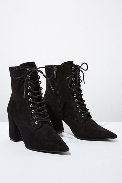 Giselle Pointed Lace Up Boot, BLACK MICRO