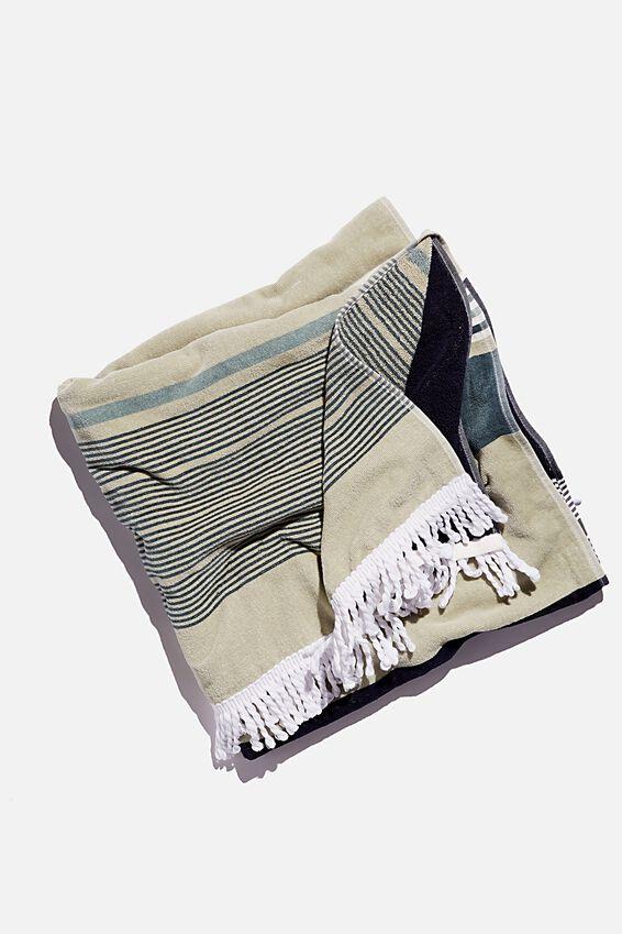 Bondi Rectangle Towel, DEEP AQUA FORESHORE STRIPE