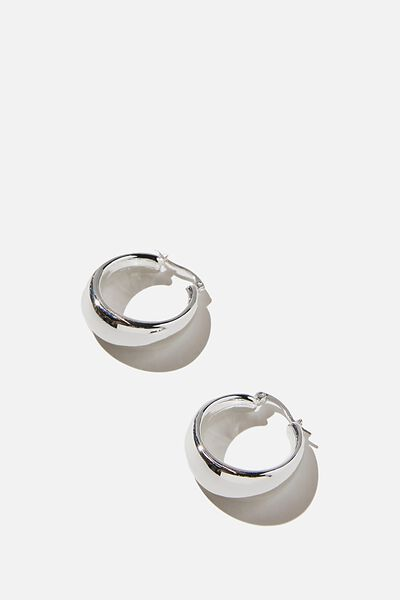 Premium Mid Hoop, STERLING SILVER PLATED CHUNKY