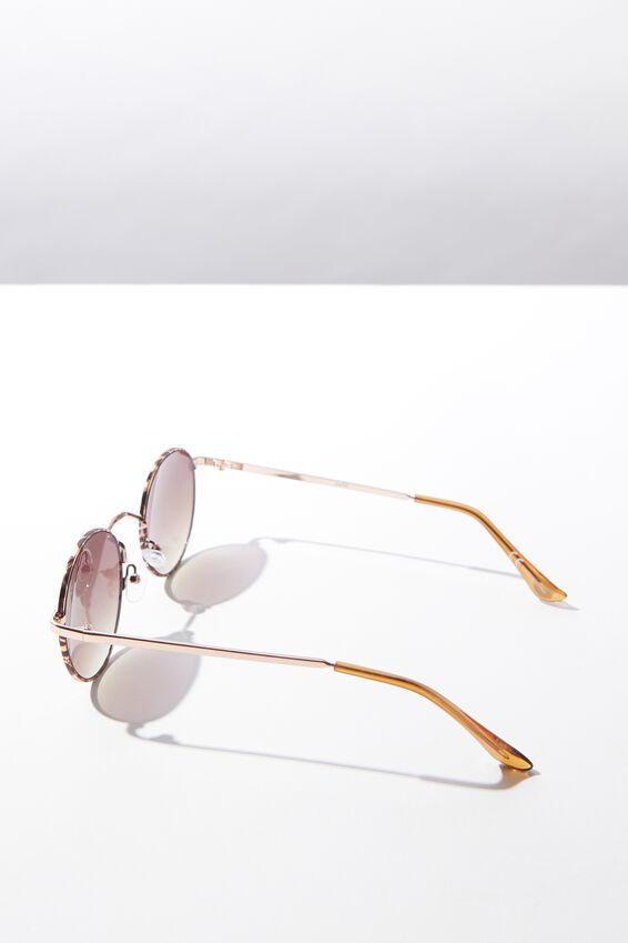 Emmi Metal Frame Sunglasses, GOLD TORT