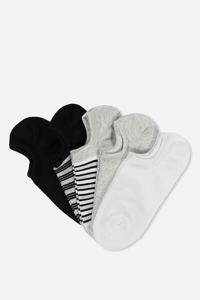 5Pk Sports Low Cut Sock, GREY STRIPE