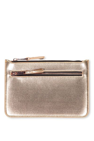 Queens Clutch Purse, ROSE GOLD WITH BLACK