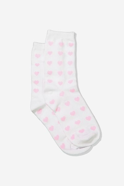 Carrie Crew Sock, WHITE/HEARTS
