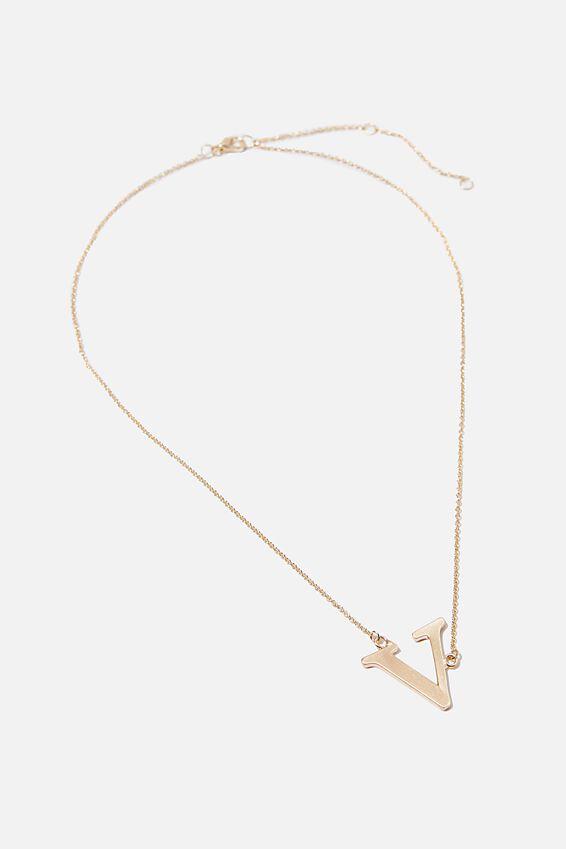 Tilted Letter Necklace, GOLD V