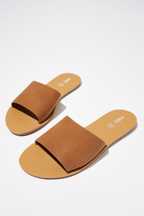 Carrie Minimal Slide, TAN NUBUCK