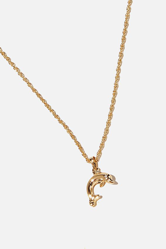 Brighter Days Pendant Necklace, DOLPHIN GOLD