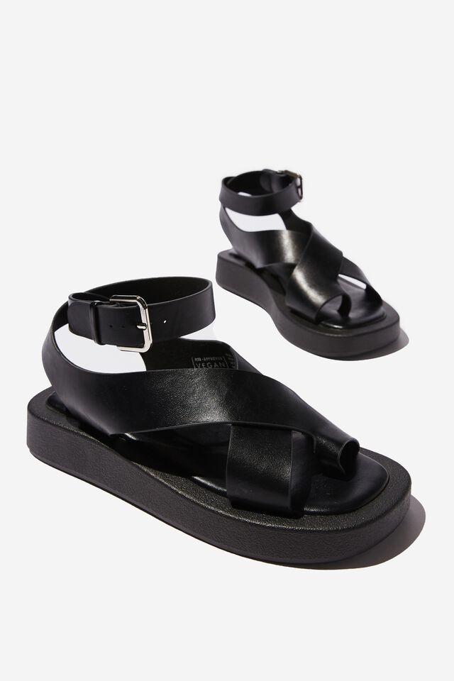 Sadie Ankle Strap Flatform, BLACK SMOOTH PU