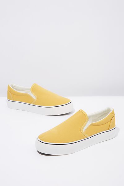 Jessie Platform Slip On, MUSTARD CANVAS