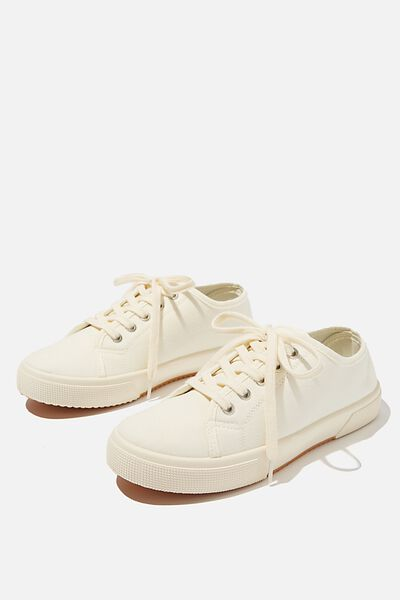 Lisa Lace Up Plimsoll, ECRU
