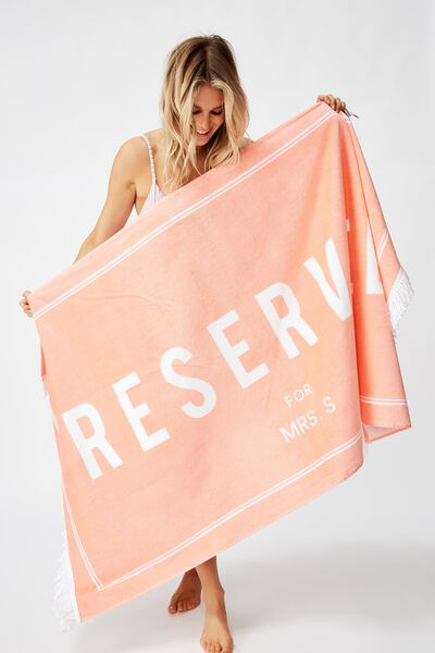 Personalised Rectangle Towel, CORAL RESERVED