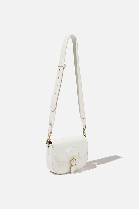 Blaire Buckle Cross Body Bag, WHITE