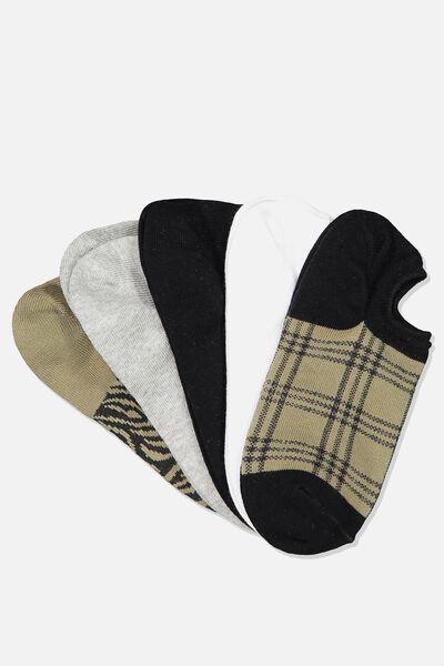 5Pk Sports Low Cut Sock, OLIVE SARAH ZEBRA