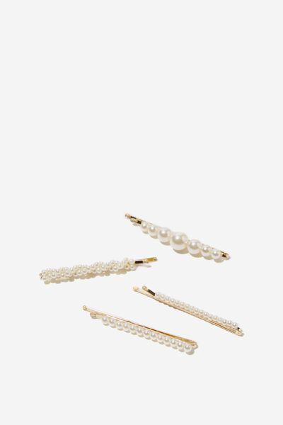4Pk Aisha Hair Clip, PEARL/GOLD