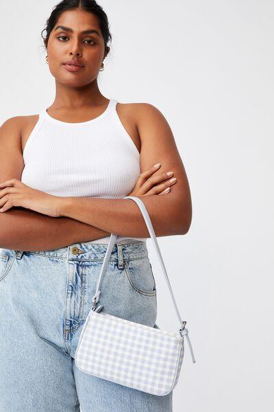 Lexi Underarm Bag, BLUE/WHITE GINGHAM