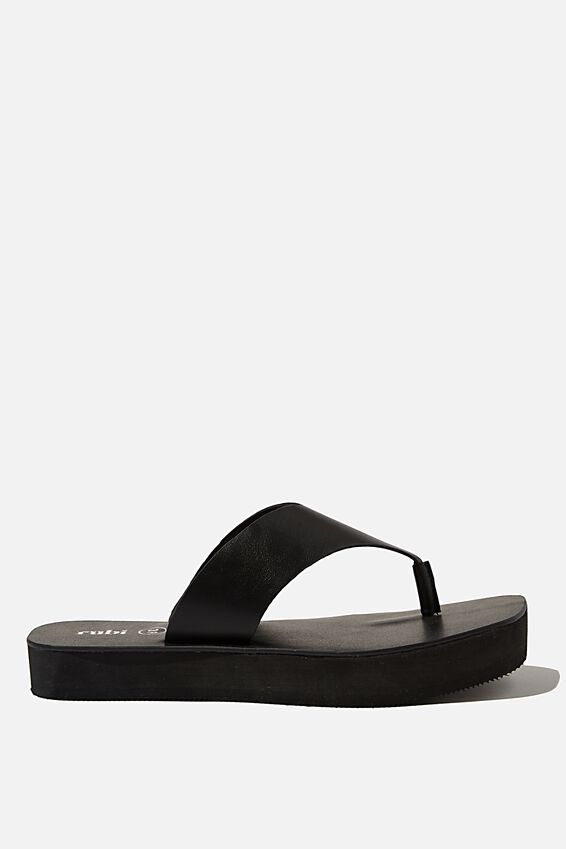 Livie Flatform Thong, BLACK SMOOTH PU