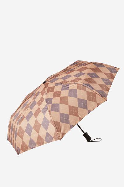 Compact Umbrella, NEUTRAL ARGYLE