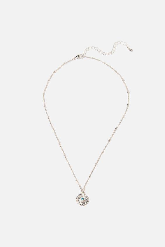 Treasures Short Pendant Necklace, SILVER EVIL EYE