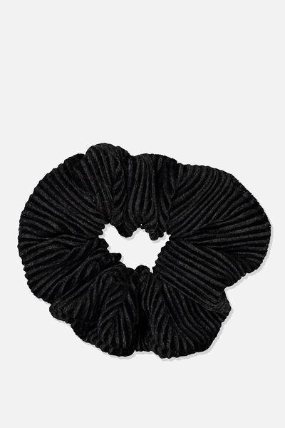 Luxe Scrunchie, BLACK VELVET PLEAT