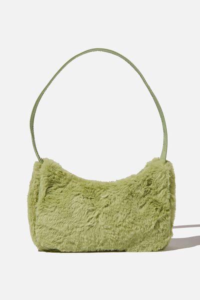Nadia Underarm Bag, RETRO GREEN FLUFFY