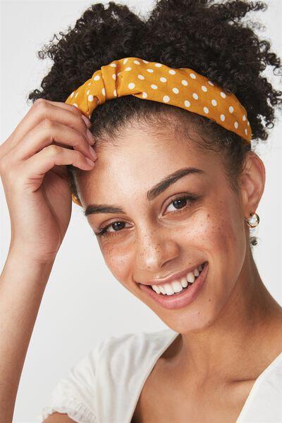 Hepburn Twist Headband, MUSTARD SPOT