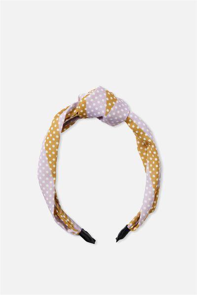 Pia Knot Headband, LILAC MUSTARD SPOT
