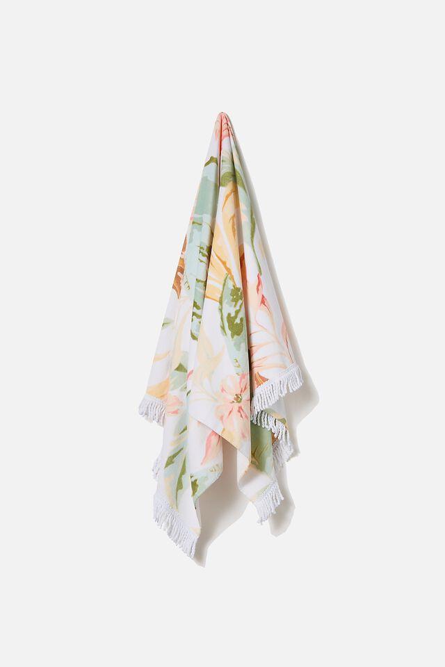 Bondi Rectangle Towel, NATURAL TROPICAL FOLIAGE