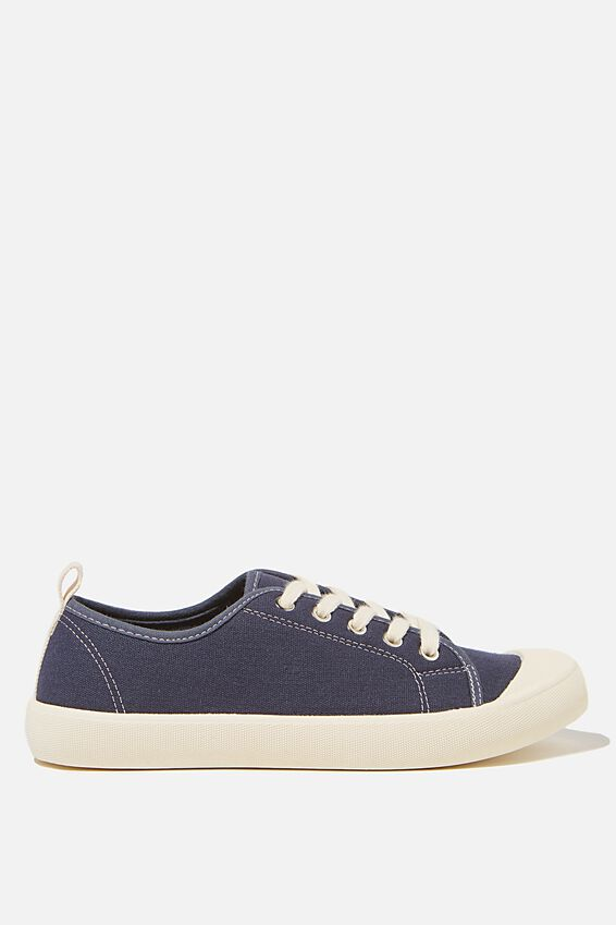 Demi Lace Up Plimsoll, NAVY ECRU