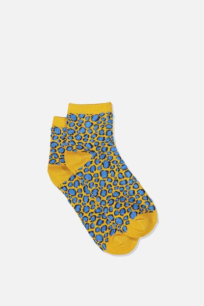 Fun Sock, FLUFFY PAINTERLY LEOPARD