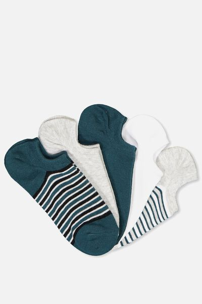 5Pk Sports Low Cut Sock, TEAL STRIPE