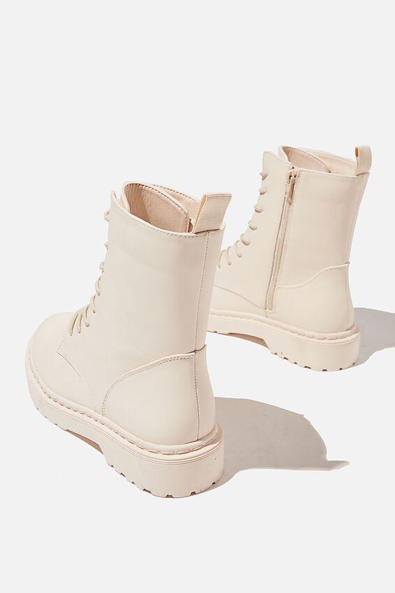 Freda Combat Lace Up Boot, ECRU MONO