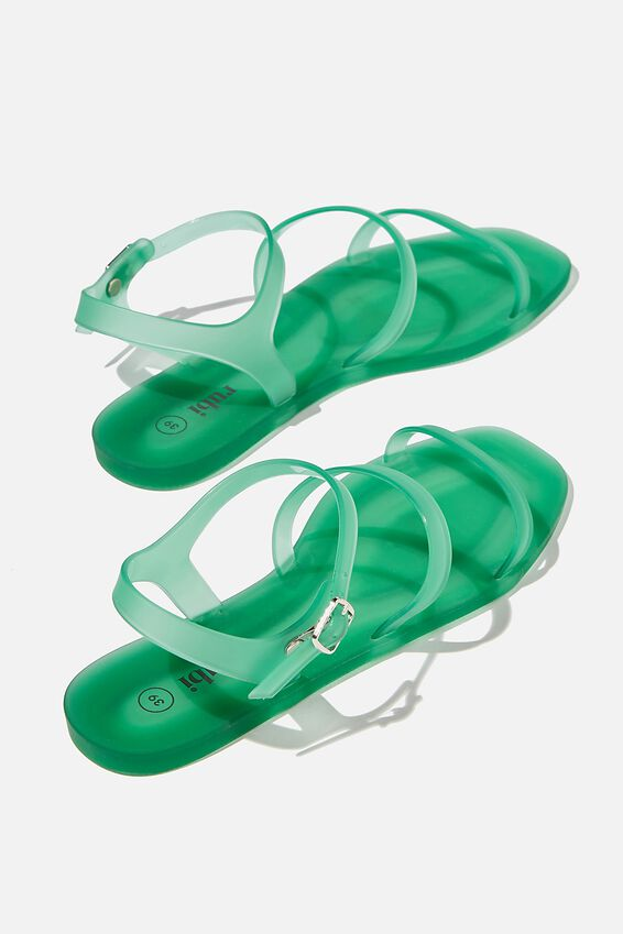 Triple Strap Jelly Sandal, VIVID GREEN