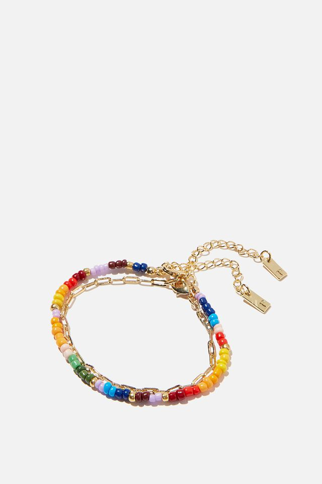 Premium 2Pk Bracelets, GOLD PLATED OPEN LINK & RAINBOW